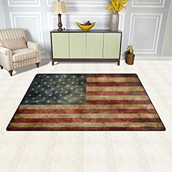 Amazon Com Wozo Vintage American Flag 4th July Independence Day Area Rug Rugs Non Slip Floor Mat Doormats For Living Room Bedroom 31 X 20 Inches Furniture Decor