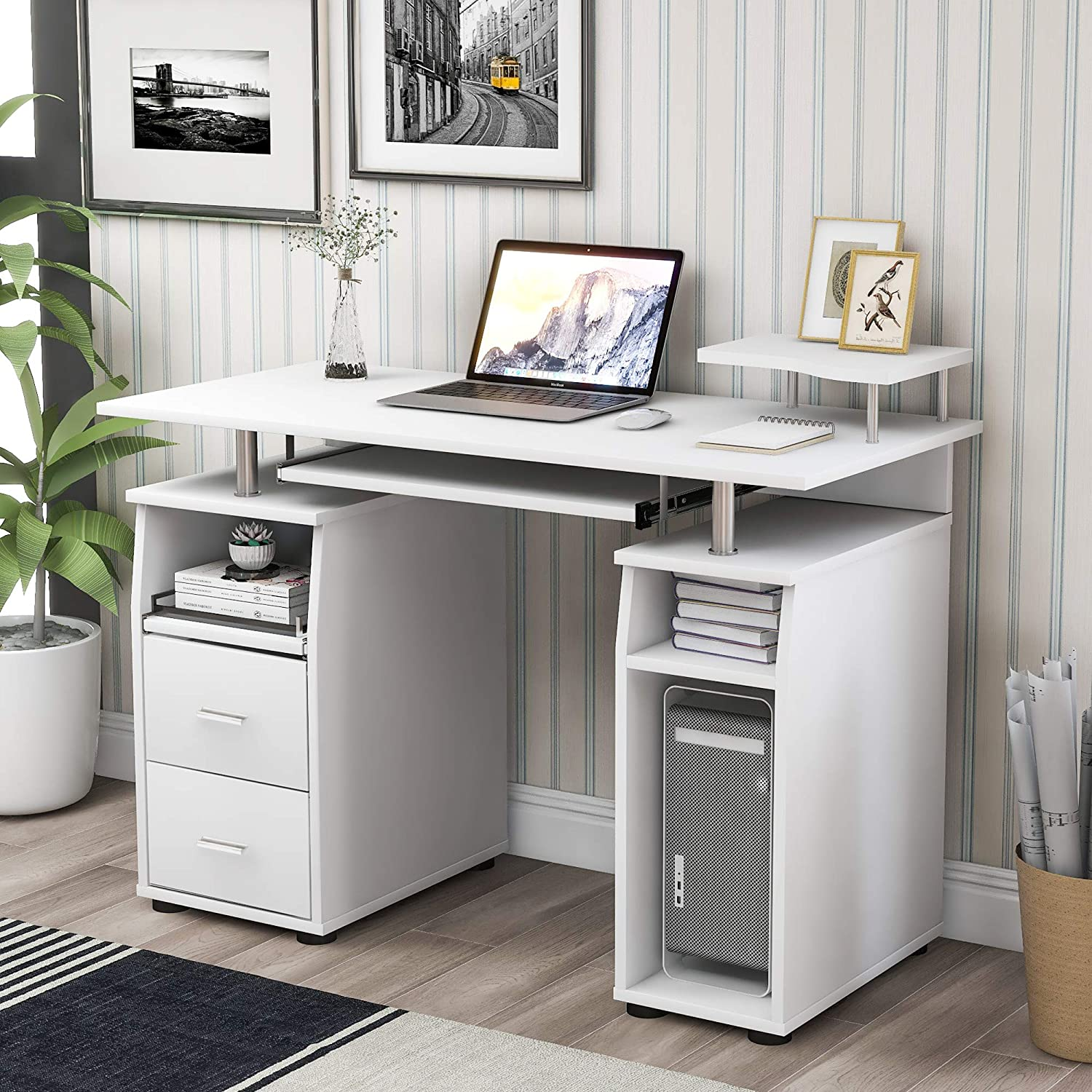Merax Home Office Computer Desk, Multi-Functional Writing Table Desk with Keyboard Tray and Drawers (White)