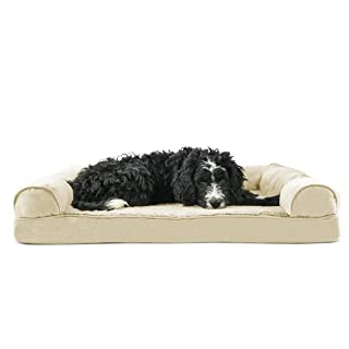 FurHaven Pet Dog Bed   Memory Foam Plush & Suede Couch Sofa-Style Pet Bed for Dogs & Cats, Clay, Large