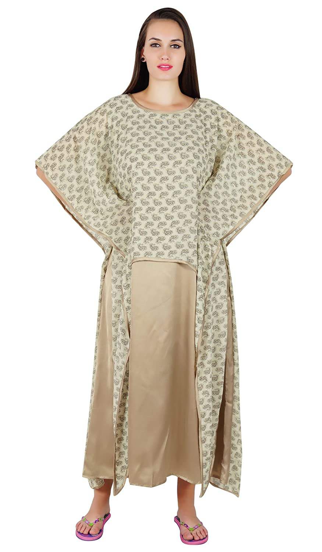 Cattywoo Maxi Sleepwear Women's Casual Kaftan Style Night Dress Long Gown