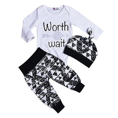 c12d28863c6a Amazon.com  Aliven 3Pcs Set Newborn Baby Boys Clothes Triangle Print ...