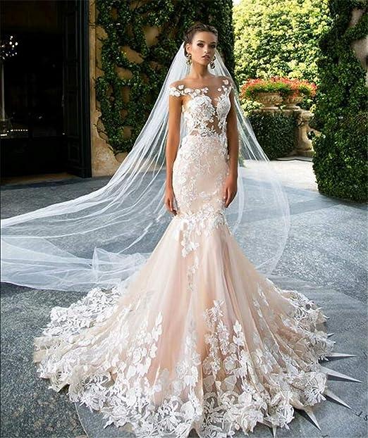 Vestido de Novia, Novia Mujer Princesa de Encaje Elegante ...