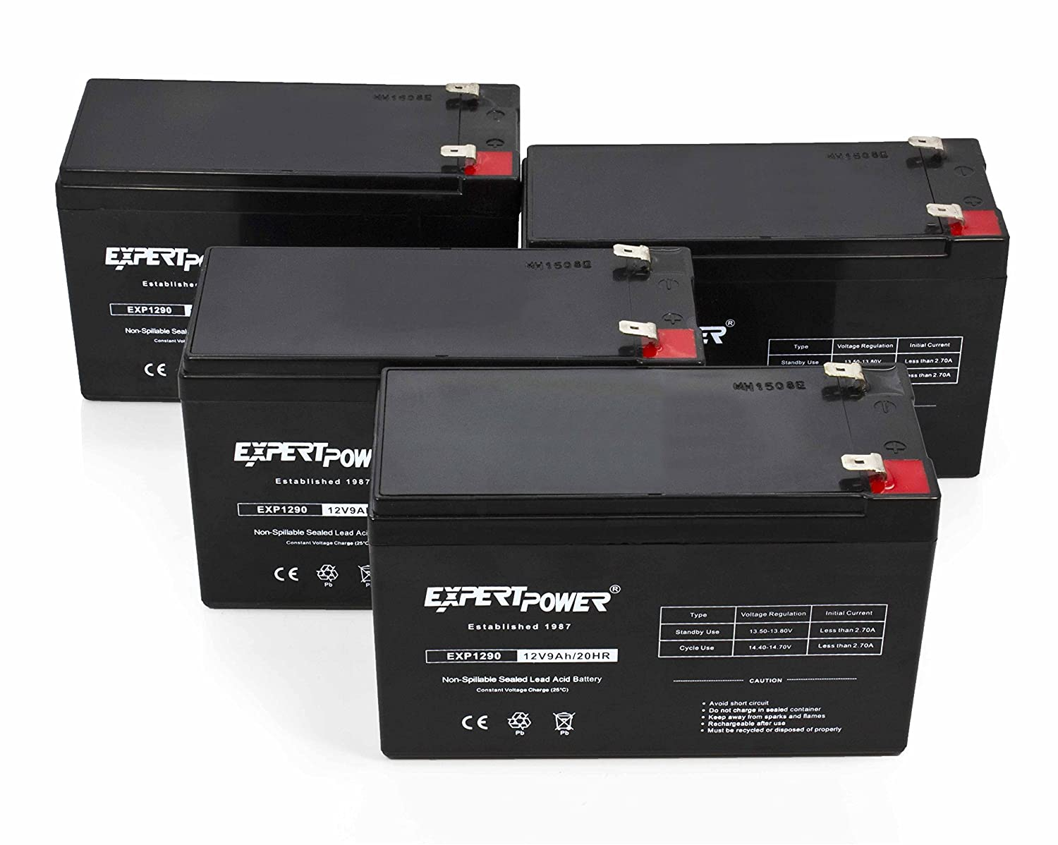 ExpertPower 12v 9ah Sealed Lead Acid Battery with F2 Terminals (.250') / 4 Pack