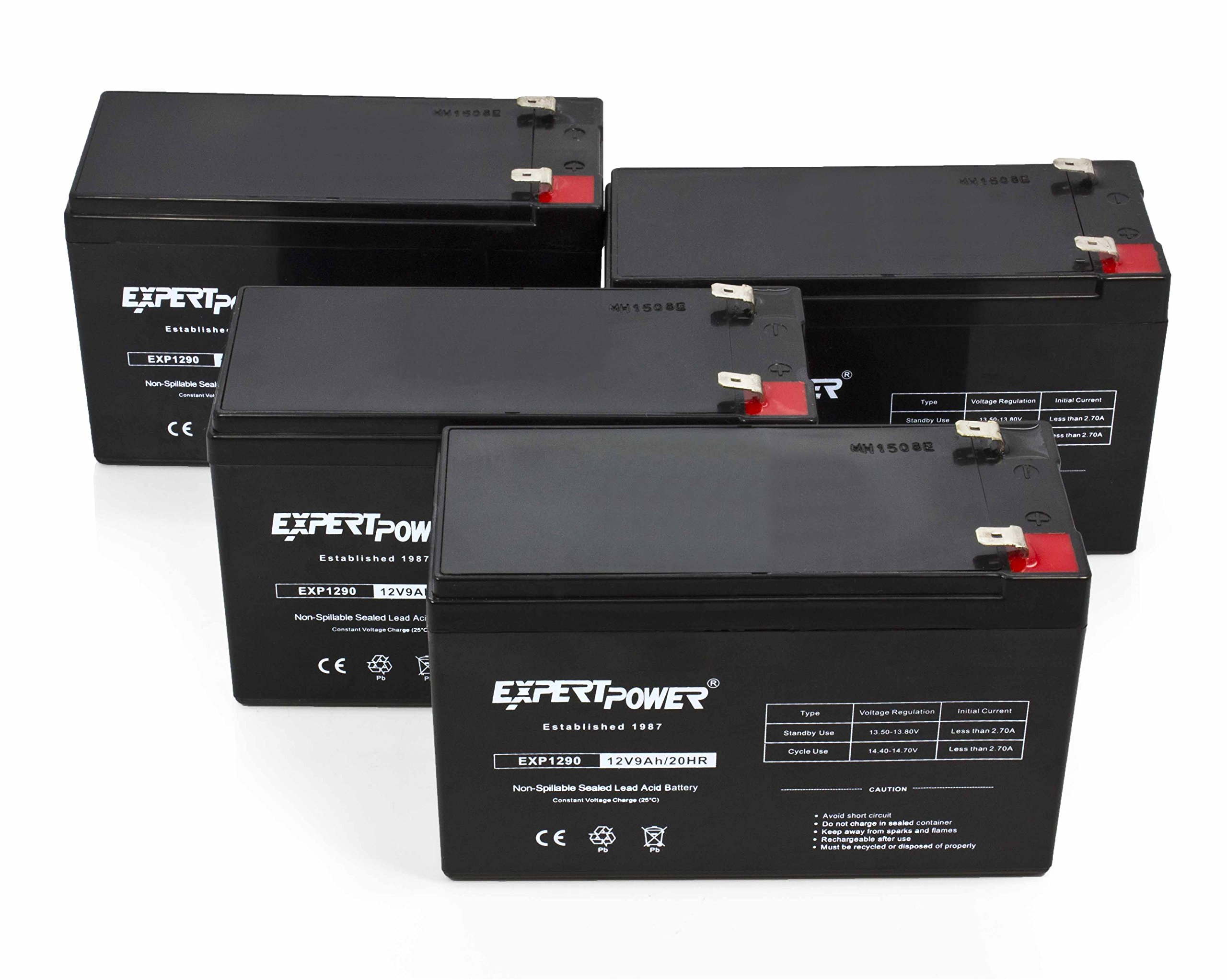 ExpertPower 12v 9ah Sealed Lead Acid Battery with F2 Terminals (.250'') / 4 Pack by ExpertPower