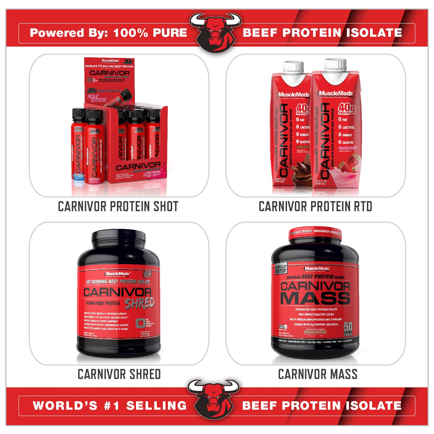 MuscleMeds Carnivor Beef Protein Isolate Powder, Chocolate, 100 Servings