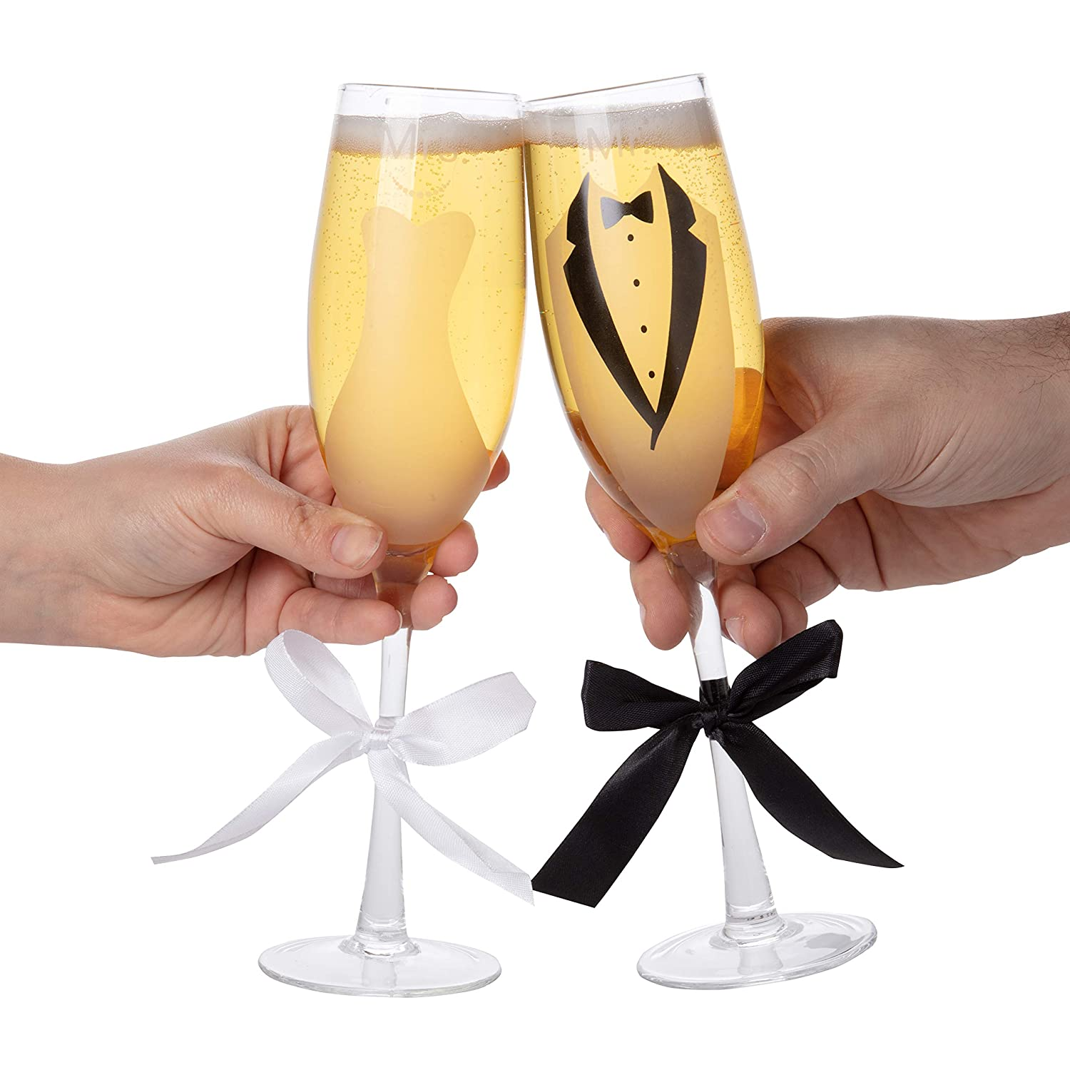 Bridal Gown and Tuxedo Design With Ribbons 70 Oz Pair Bride /& Groom Wedding Champagne Flutes