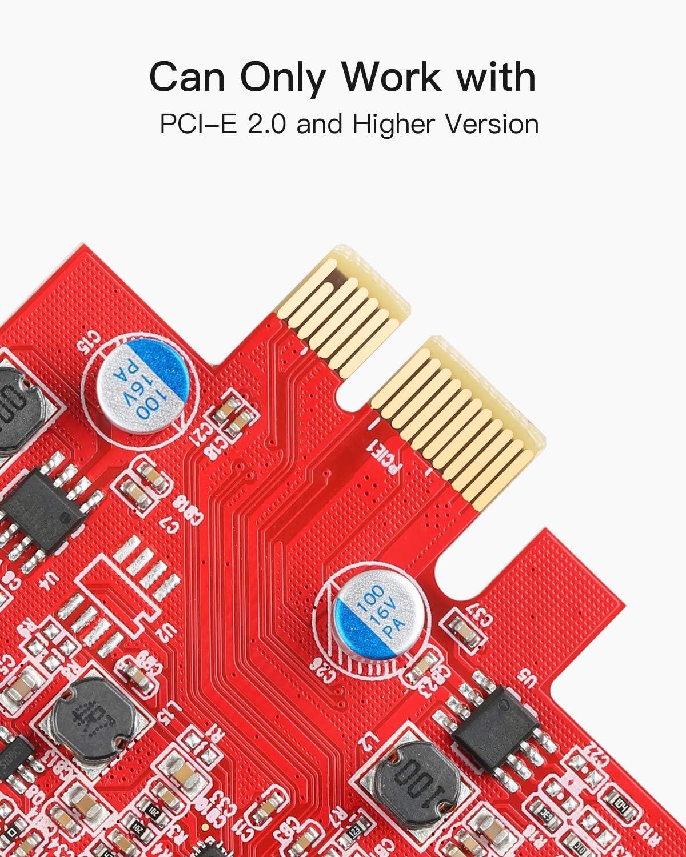 Sutinna Tarjeta de expansi/ón PCI-E a USB3.0 Adaptador de Tarjeta de expansi/ón Super Speed de 5 Gbps con Interfaz Frontal 19PIN