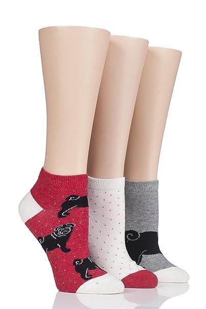 Ladies 3 Pair SockShop Wild Feet Black Pug Trainer Socks