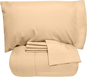 Sweet Home Collection 5 Piece Comforter Set Bag Solid Color All Season Soft Down Alternative Blanket & Luxurious Microfiber Bed Sheets, Twin, Camel
