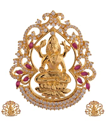 Buy ganapathy gems 1 gram gold plated lakshmi pendant set with ruby ganapathy gems 1 gram gold plated lakshmi pendant set with ruby cz stones 8406 aloadofball Image collections