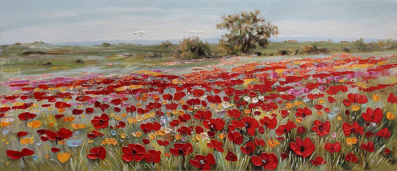 BUBOLA quadro rosso dipinto a mano campo di fiori particolari a rilievo su tela DIPIW634 65x150