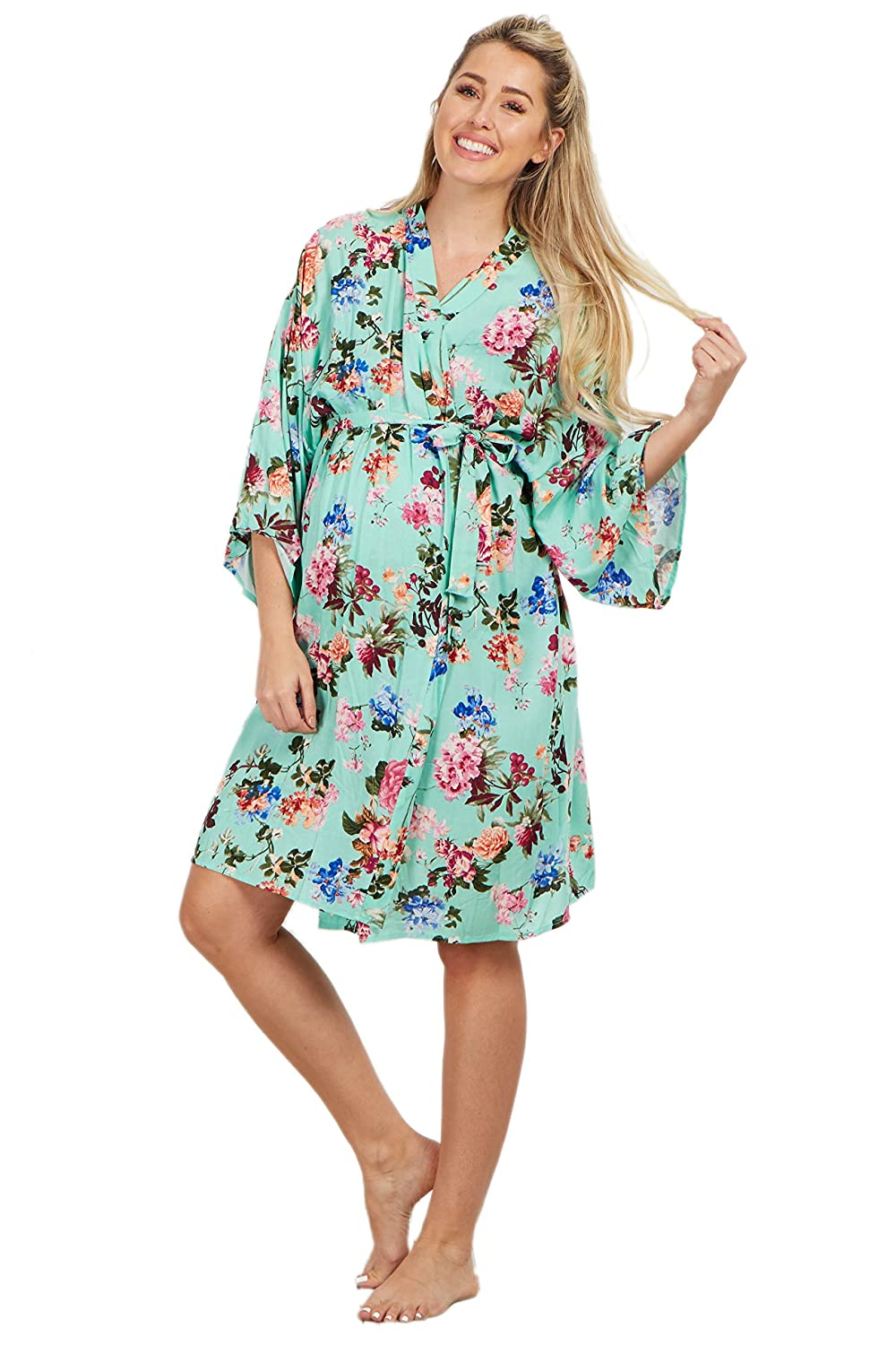 f7a6852e38ca6 PinkBlush Maternity Mint Floral Delivery/Nursing Maternity Robe, XL at  Amazon Women's Clothing store: