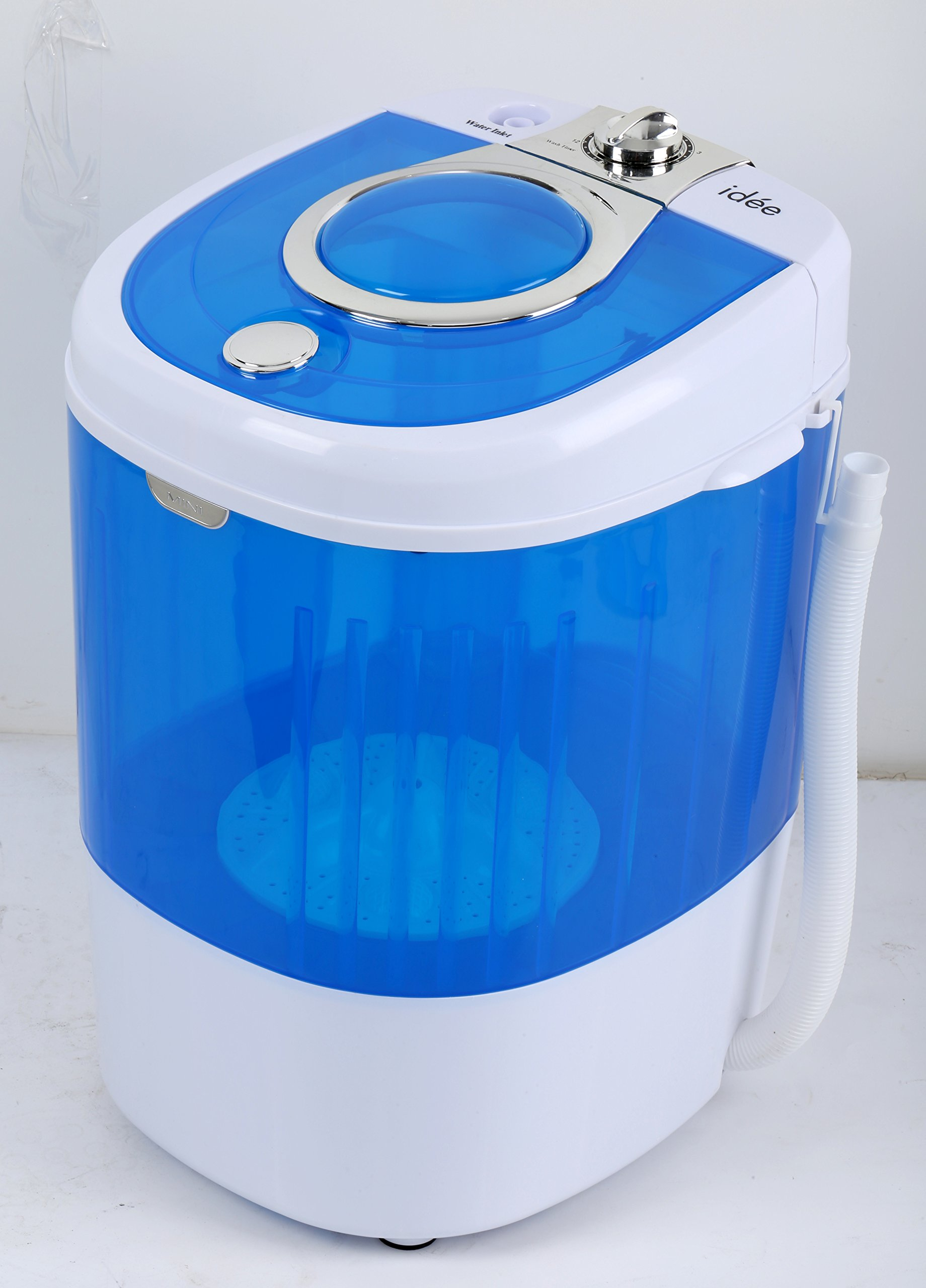idée HCWM01WE Portable Single Tub 5.5 lb Capacity Semi-Automatic Mini Washer, Blue/White