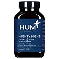 HUM Mighty Night - Beauty Sleep Supplement - Fight Early Signs of Aging - Support Restful Sleep & Overnight Skin Health with Ceramides, CoQ10 & Ferulic Acid (60 Vegan Softgels)