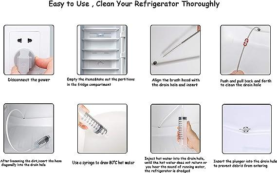 4 Pcs Refrigerator Fridge Drain Hole Clog Remover Set Cleaning Tool Shovel Kit
