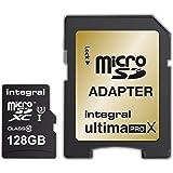 Integral UltimaPro X 128GB microSDXC Ultra-High-Speed Class 10 Memory Card, Up to 95 MB/s Read, 90 MB/s Write, UHS-I U3