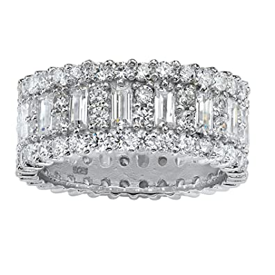 eternity cut zirconia cz sterling silver item cubic bands band cttw channel princess set