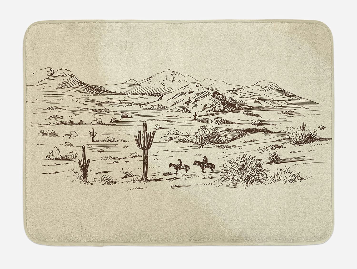 "Ambesonne Western Bath Mat, Wild West Landscape Illustration with Mountains Desert Plants Cowboys on Horses, Plush Bathroom Decor Mat with Non Slip Backing, 29.5"" X 17.5"", Beige Black"