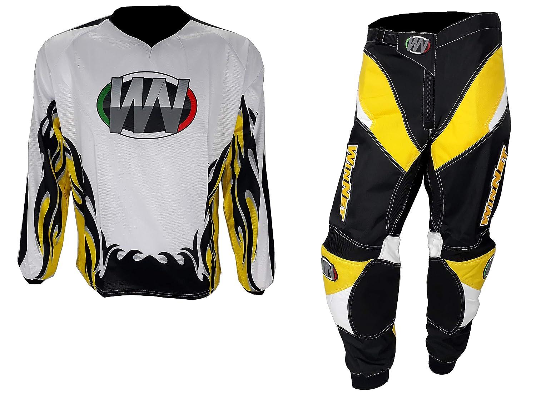 3XL WinNet completo tuta per moto da cross o motard giallo bianco nero maglia e pantaloni