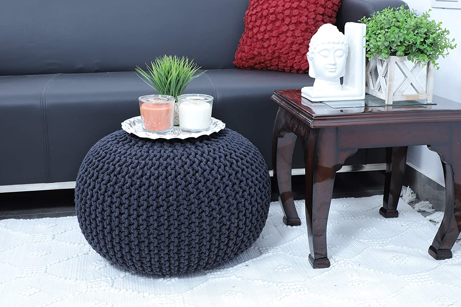 Frenish Décor Hand Knitted Cotton Ottoman Pouf Footrest 20x20x14 INCH, Living Room Accent seat (Dark Grey)