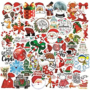 50PCS Christmas Stickers for Tags Crafts Windows Water Bottles Car Laptop Luggage Skateboard Motorcycle Snowboard Phone Stickers HydroFlasks Cute Waterproof Decal Stickers for Kids Teens Girls