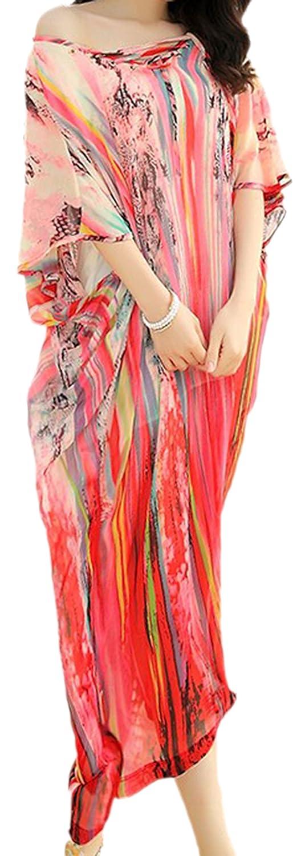 erdbeerloft - Damen weites, luftiges Strand Kleid Tunika mit abstraktem Muster, S-M, Rot