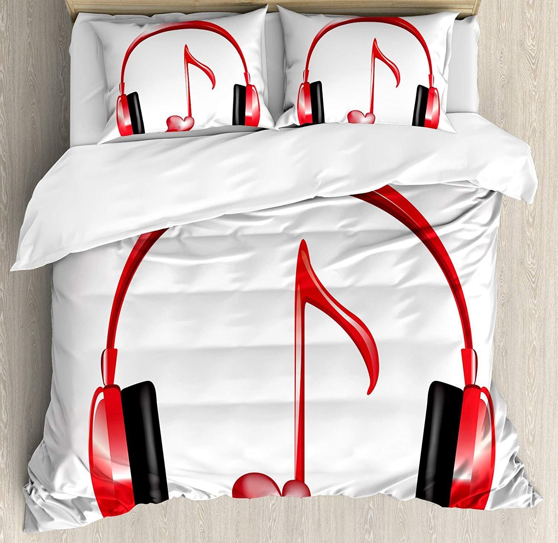 Music Decor Bedding 4ピース羽毛布団カバーセット 豪華 ソフト ホテル品質 しわ、色あせ、汚れ防止、アレルギー耐性、ラブサウンドヘッドホン ハート型キーノートメロディー ファンシーアート クイーン VET2018/11/07-178 B07KP8P51P スタイル6 クイーン