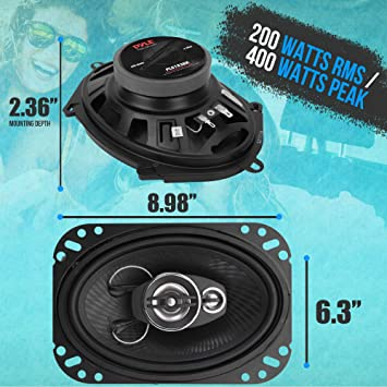 """Pyle PL683BL 6/"""" x 8/"""" Car Sound Speaker - Upgraded Blue Poly Injection Cone 3-Way 360 Watts w// Non-fatiguing Butyl Rubber Surround 70-20Khz Frequency Response 4 Ohm /& 1 ASV Voice Coil Pair"""