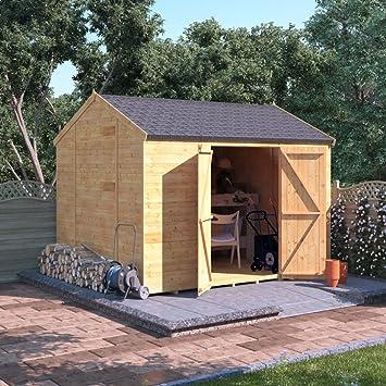 Cobertizo de madera de 10 x 8 taller - retroceso BillyOh experto lengua sin ventanas y GROOVE Apex Shed taller: Amazon.es: Jardín
