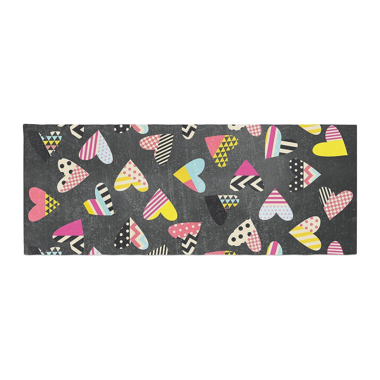 Kess InHouse Louise Machado Pieces of Heart Pink Yellow Bed Runner