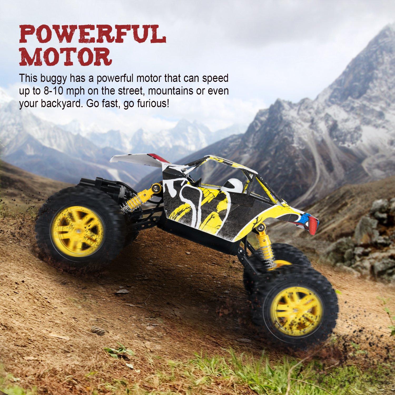 SGILE Juguete Coche Todoterreno, Coche Teledirigido de RC con 2 Pilas, 4WD, 2.4GHZ Racing Buggy para Niños Adultos, Amarillo: Amazon.es: Juguetes y juegos