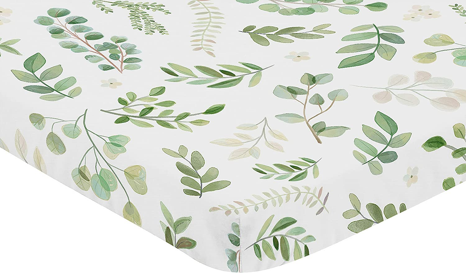 Sweet Jojo Designs Floral Leaf Girl Fitted Mini Crib Sheet Baby Nursery for Portable Crib or Pack and Play Green and White Boho Watercolor Botanical Woodland Tropical Garden