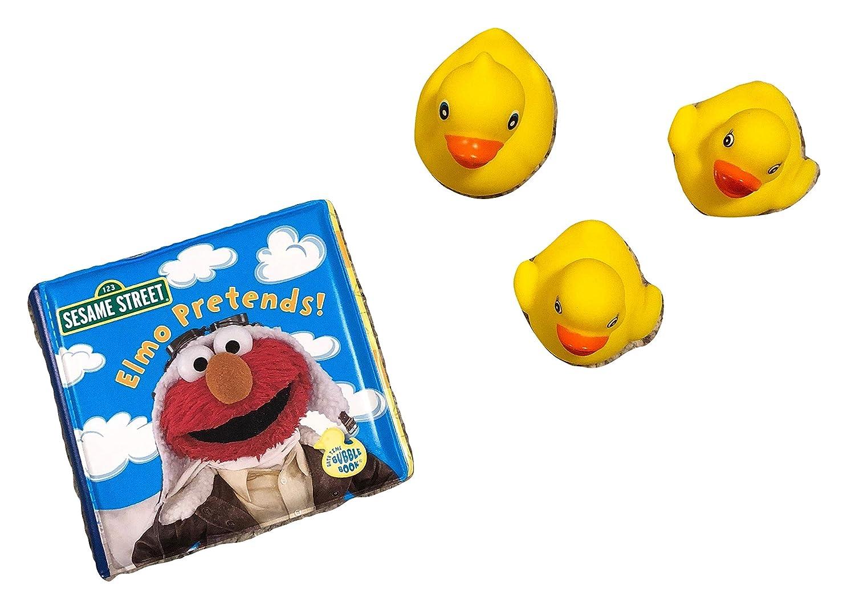 Sesame Street Baby Bath Time Toys Bath Buddies Bath Book with Favorite Character Elmo; 3 Yellow Rubber Duckies; 2-pc Sesame St