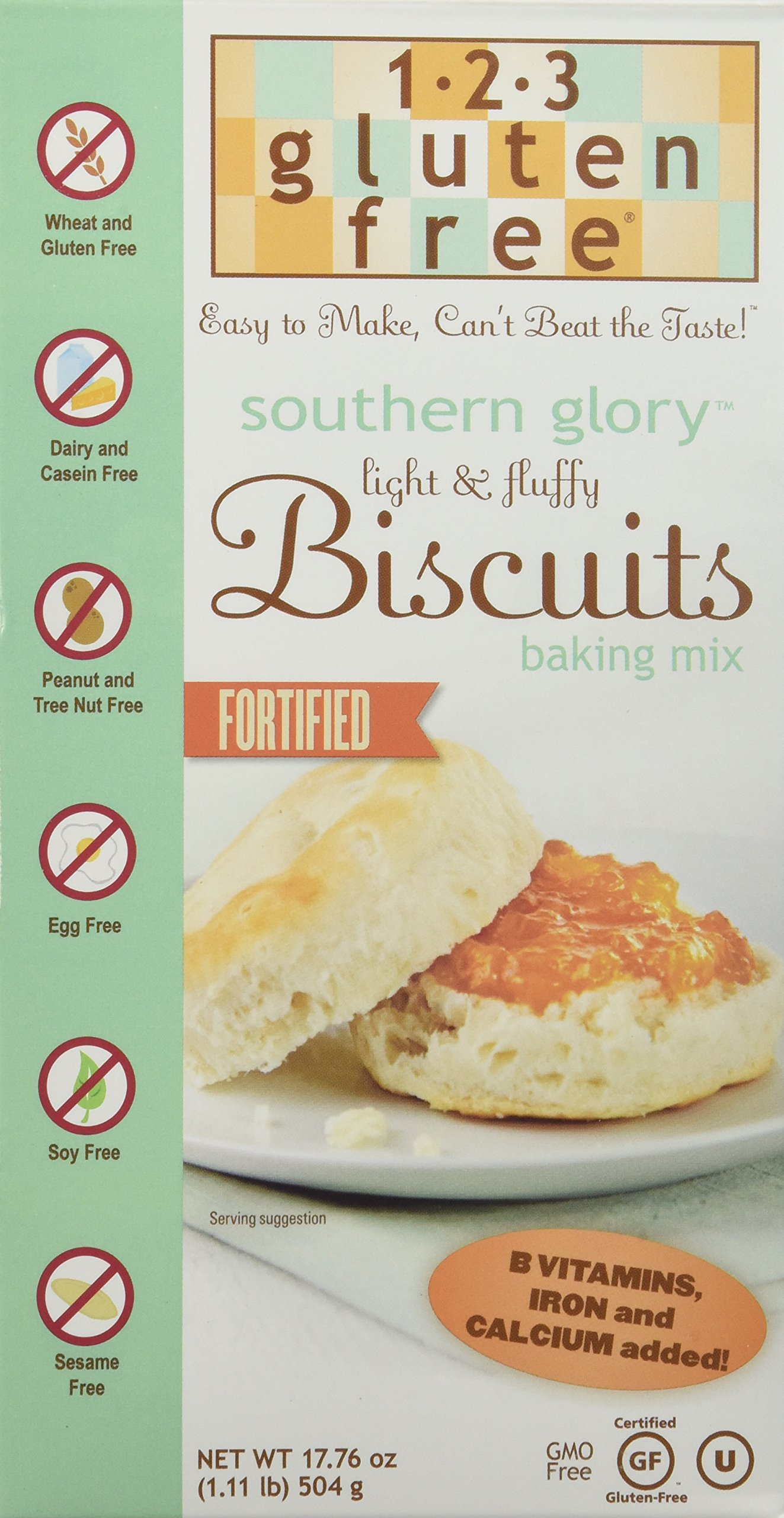 123 Gluten Free Southern Glory Biscuit Mix, 17.76-Ounce Boxes (Pack of 3)