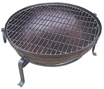 80cm Indian Fire Pit With Stand /& Grill Garden Bowl Kadai Large Wrought Iron