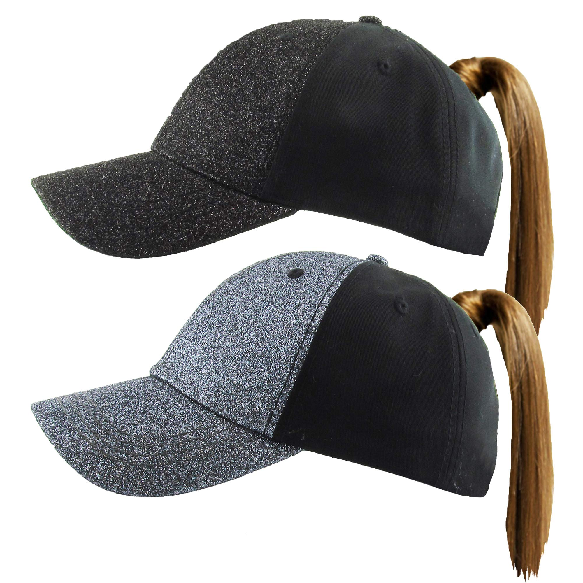 H-216-2-GS0670 GLITTER Ponycap 2-Pack: Solid Black & Charcoal