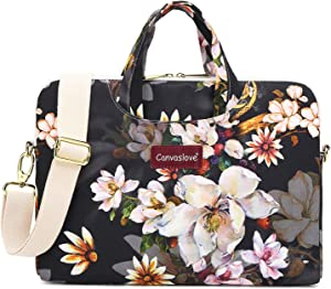 Canvaslove Oil Painting Flower Water Resistant Laptop Shoulder Messenger Bag Case for MacBook Pro 16 inch,15 inch Surface Laptop 3,Surface Book 2 and 14 Inch,15 inch,15.6 Inch Laptop