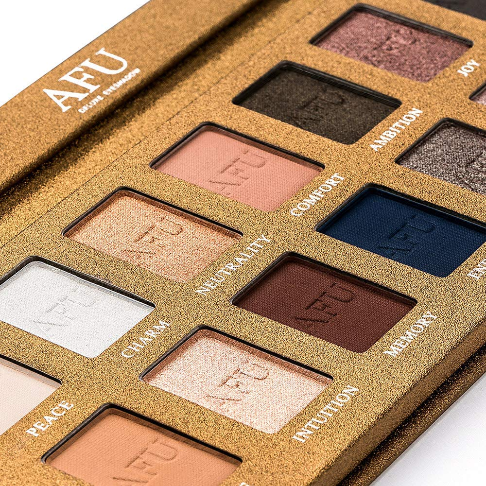AFU High Pigmented Eyeshadow Palette Matte + Shimmer 16 Colors Makeup Natural Bronze Neutral Smokey Blendable Waterproof Eye Shadows Cosmetic - E-11 by AFU (Image #2)