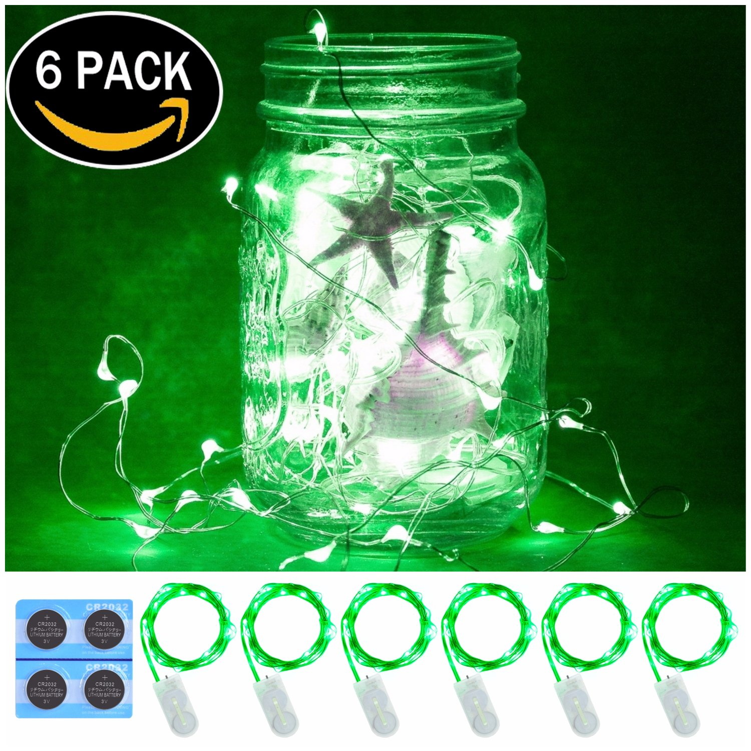 6 Pack,7Feet 20 LED Starry String Lights, Silver Wire,2pcs CR2032 Batteries Included, Firefly Fairy String Light Lights LED Moon Lights for DIY Dinner Party,Table Decoration,Wedding Centerpiece(Green)