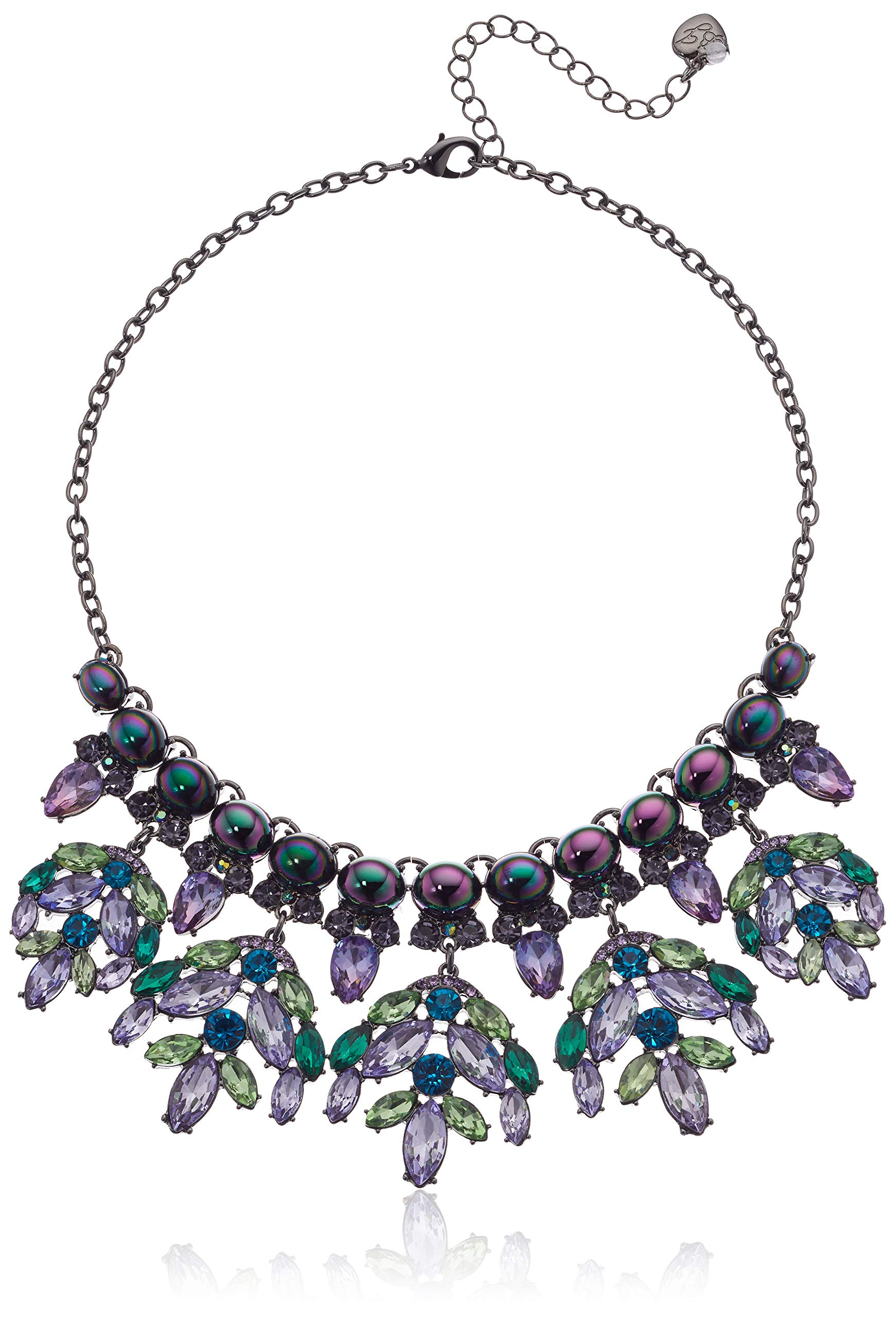 Betsey Johnson (GBG) Women's Mixed Stone Cluster Frontal Strand Necklace, Peacock Dark Multi, One Size