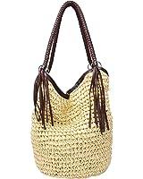 GSPStyle Damen Stroh Schultertasche Strandtaschen mit Reißverschluss Farbe Beige