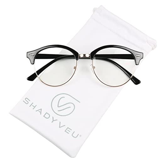 52c298c553aa1 Amazon.com  ShadyVEU - Round Half Frame Semi Rim Classic Retro Clear Lens  Circle Eye Sun Glasses (Black w Gold Frame