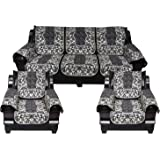 SQUATTY Cotton Fabric Flower Printed Sofa Cover Set of 5 Seater with arm Cover (3+1+1) or L Shape Sofa (3+2). - (Black, Grey)