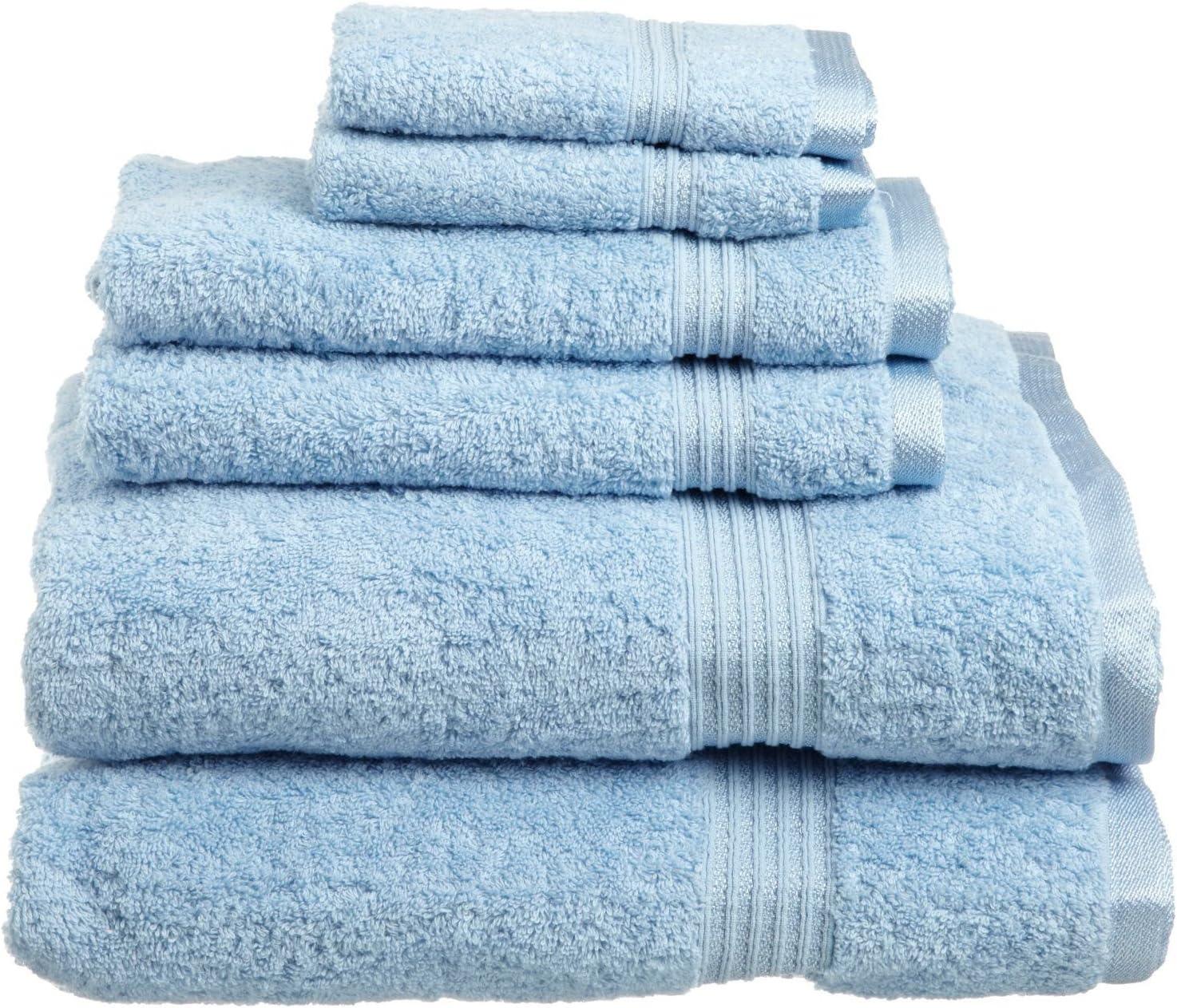 SUPERIOR Luxury Cotton Bath Towel Set - 6-Piece Towel Set, 600 GSM, Long-Staple Combed Cotton Towels, Light Blue