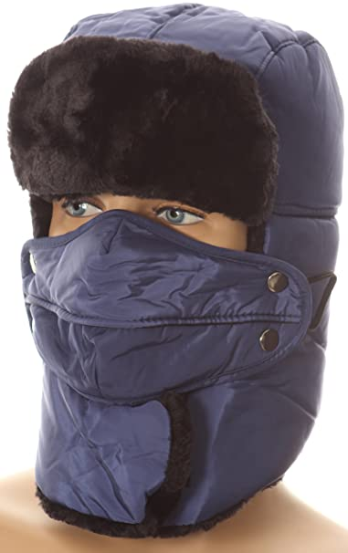 5c0778c539bc3 Sakkas 16162 - Dab Unisex Faux Fur Chin Strap Removable Face Mask Winter  Cold Trooper Hat - Navy - OS at Amazon Men s Clothing store