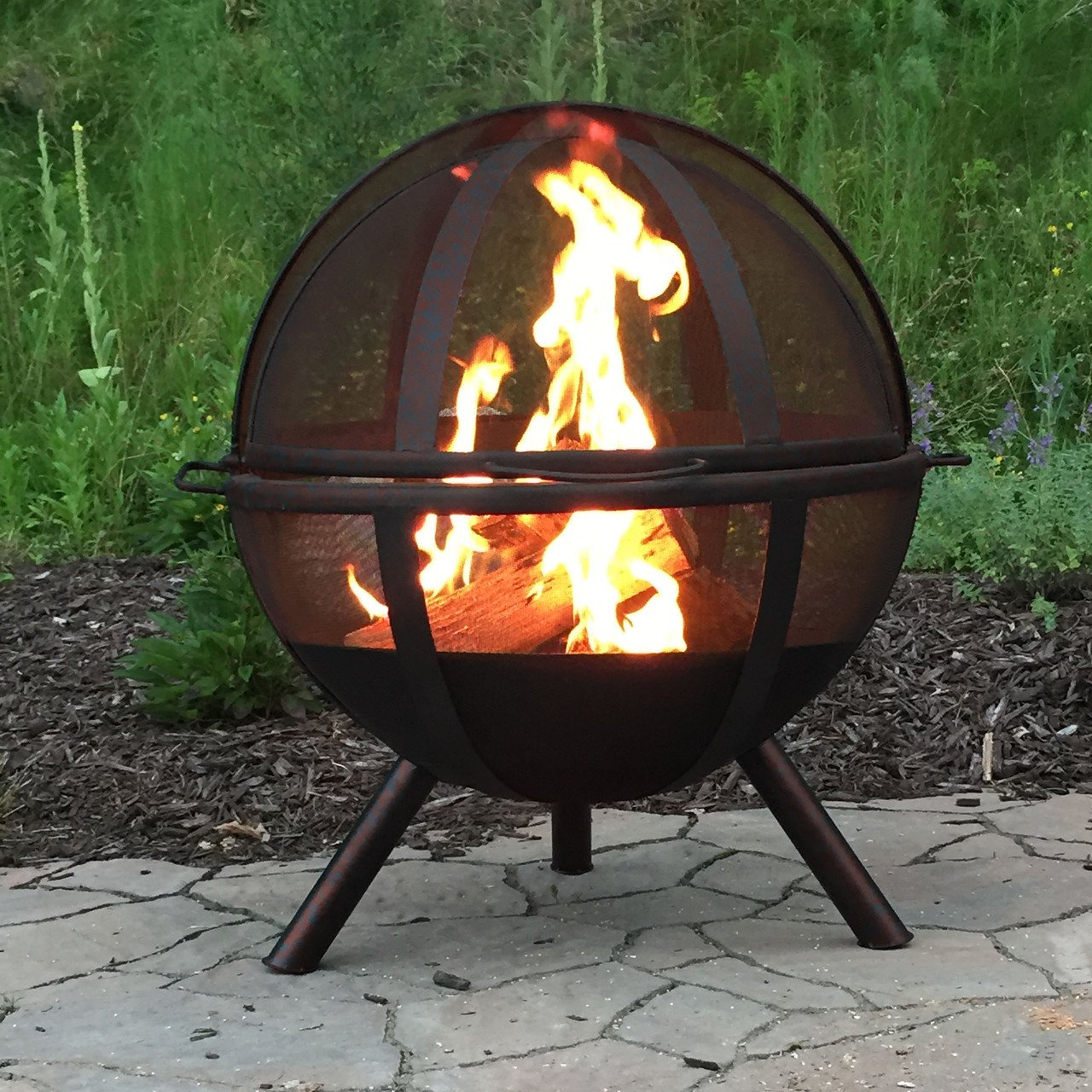 Amazon.com : Sunnydaze 30 Inch Sphere Sienna Flaming Ball Fire Pit with  Protective Cover : Garden & Outdoor - Amazon.com : Sunnydaze 30 Inch Sphere Sienna Flaming Ball Fire Pit