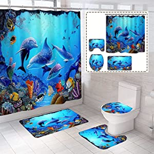 4 Pcs Dolphin Bathroom Decor Sets with Shower Curtain and Rugs and Accessories,Durable Waterproof Cute Blue Sea Ocean Fish Shower Curtains and Mat Set