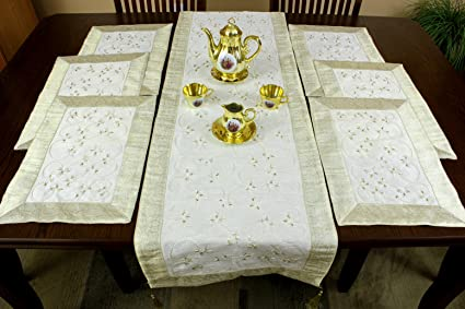 Hand Embroidered 7-Piece Placemat u0026 Table Runner Set (Beige) & Amazon.com: Hand Embroidered 7-Piece Placemat u0026 Table Runner Set ...