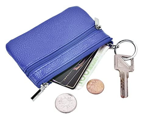 DEEZOMO RFID Blocking Genuine Leather Zipper Change Purse Coin Wallet with Key Ring