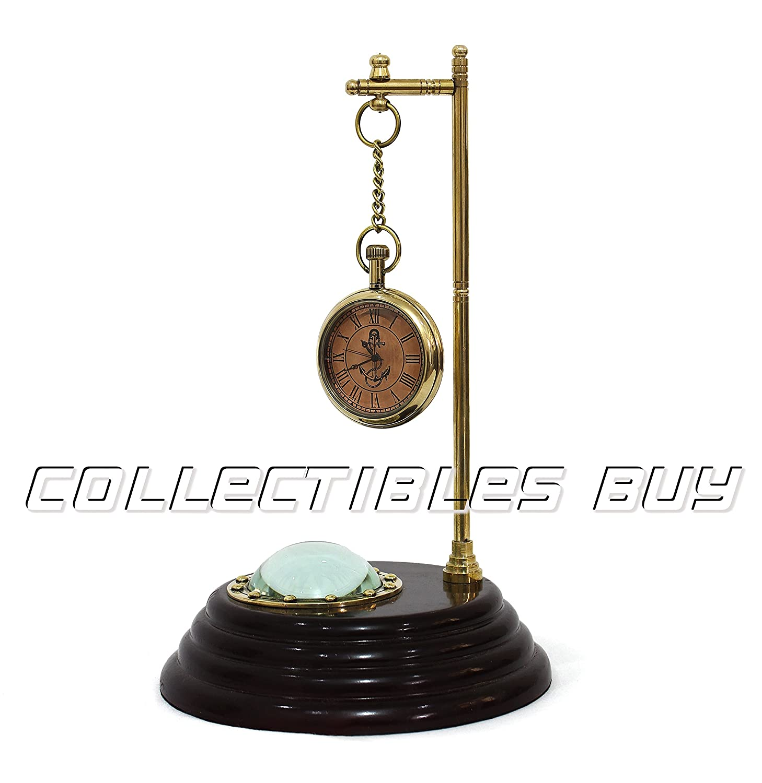 Collectibles Buyアンティーク真鍮木製ベーステーブル装飾Dollonロンドンコンパス B07CFW58P4